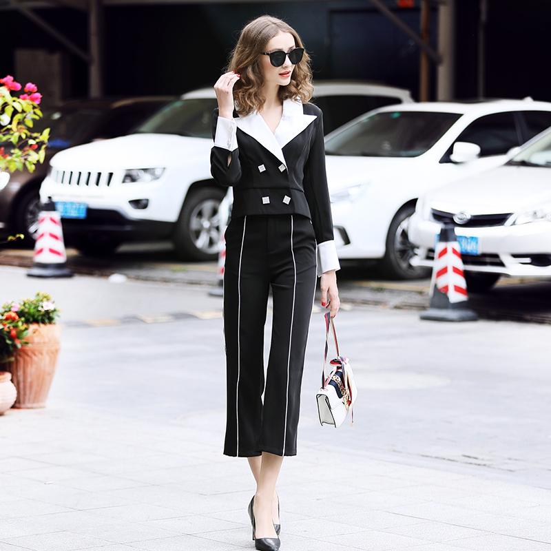 family RMOJUL temperament of the new spring dress 2019 OL bump color suit jacket + 9 minutes of pants fashion set 38