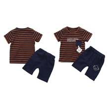Boys Summer Children Letter Print Short Sleeve T-Shirt Top Shorts Sets Casual Kid Baby Cotton Stripe Sets 0-4Y 2