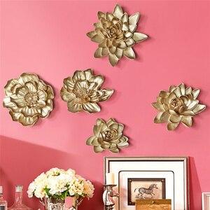 3D artesanía de resina flores arte europeo creativo hecho a mano Lotus Fish Adhesivo de pared sala de estar decoración del hogar pared colgante murales