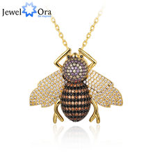 Cute Cubic Zirconia Bee Insect Necklace&pendants For Women Gift Fashion pin Dress Coat Decoration Jewelry NEW(jewelora NE102776)(China)