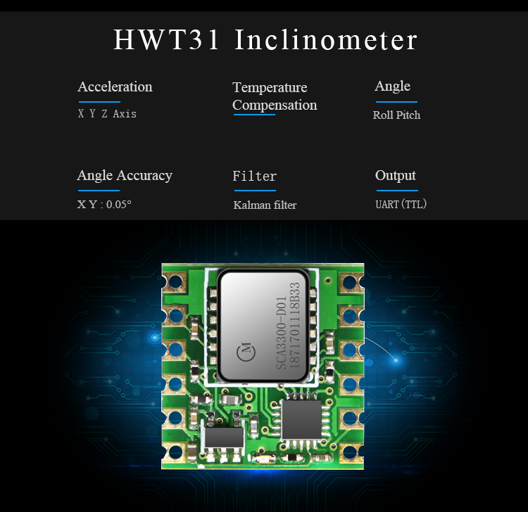 High Precision 3 Axis AHRS Tilt Angle Accelerometer Module Triaxial  Acceleration Digital Transducer For Arduinos Sensor HWT31