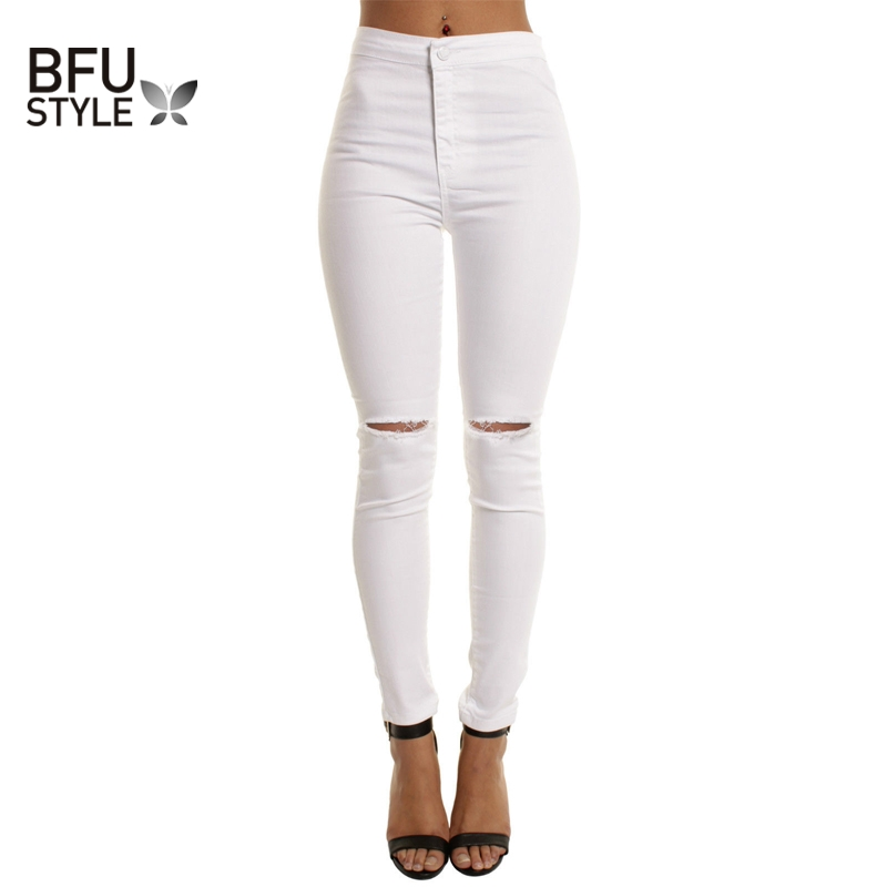 Summer Cotton White Hole Ripped Jeans Women Jeggings Cool Denim High Waist Pants Capris Female Skinny Black Casual Jeans dkny jeans women s printed denim ankle jeggings 2p multi