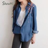 ShowMi Vintage Ethnic Plum Blossom Flower Pattern Embroidery Denim Blouse Turn Down Collar Long Sleeve Shirt