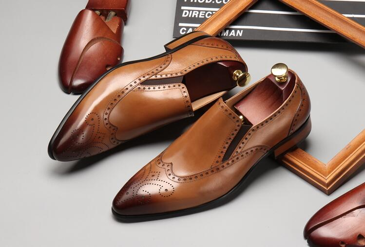 Brogue shoes men slip on pointed toes genuine leather carved brogue smart casual breathable oxfords wedding formal dress цена и фото
