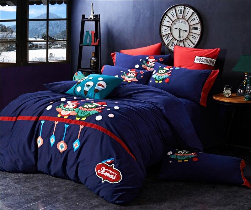 4/5 piezas de algodón de Egipto lijado de dibujos animados búho ropa de cama conjunto de toallas de bordado cálido edredón juego de sábanas fundas de almohada reina rey tamaño - 3