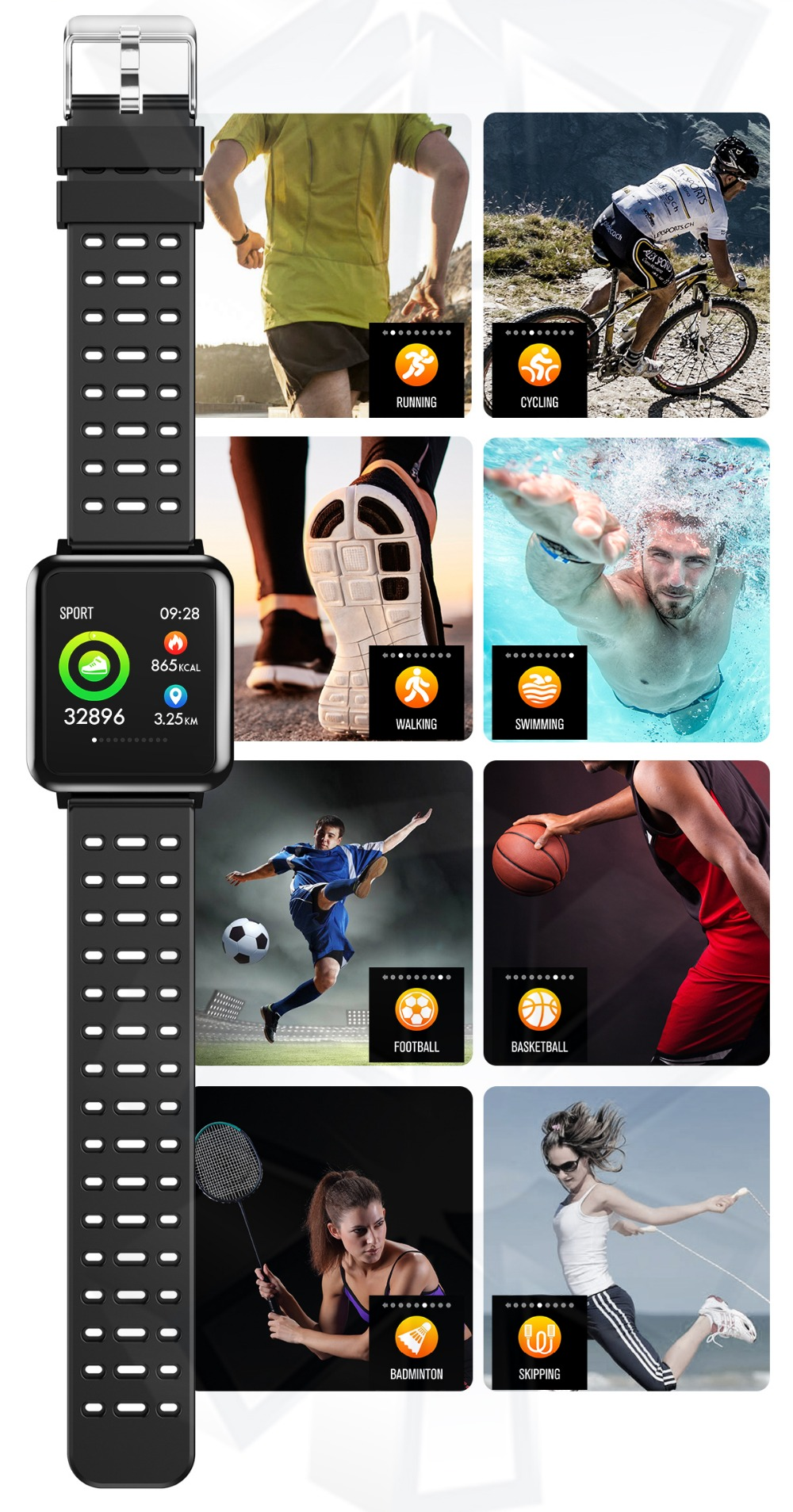 T2 Smartwatch IP67 Waterproof Wearable Device Bluetooth Pedometer Heart Rate Monitor Color Display Smart Watch For AndroidIOS (8)