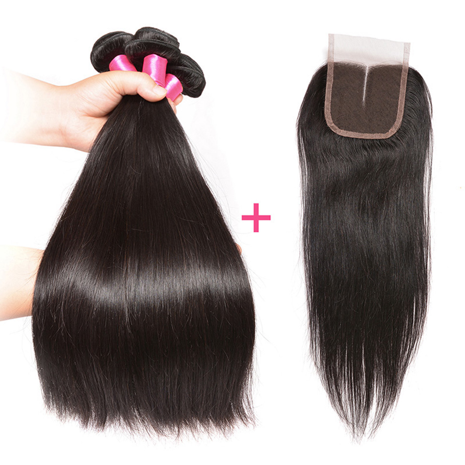 Brazilian Straight Hair With Middle Part Lace Closure Remy Human Hair 3 Bundles With Closure 4PCS PACK 4*4 lace Closure BOL