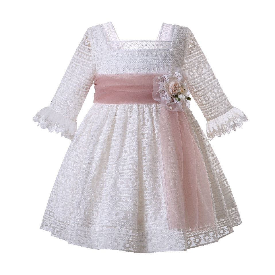 Pettigirl Girl White Mesh Communion Pageant Dress Wedding Party Ceremony Dress Boutique Kid Costume For Girl