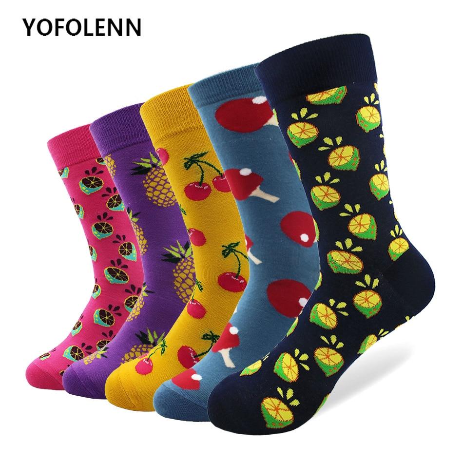 5 Pairs/lot Women Men Combed Cotton Tube Wedding Happy Funny Socks Socks Colorful Cherry Lemon Pineapple Fruit Series Pattern