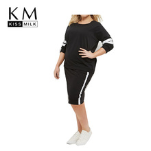 Kissmilk Plus Size New Fashion Women Big large Color Block Contrast Sweatshirts Slim 3XL 4XL 5XL 6XL