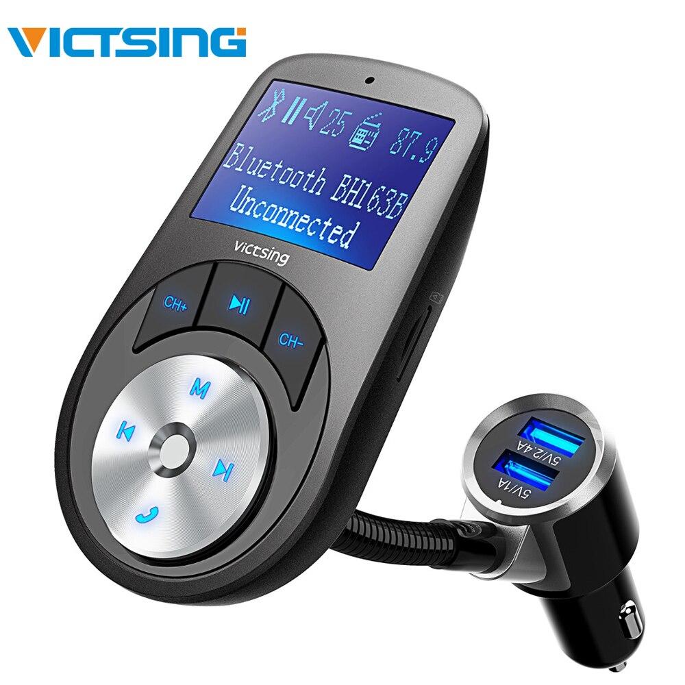 Victsing bluetooth sem fio carro kit transmissor fm rádio mãos-livres adaptador de áudio duplo usb carregador fm modulador aux entrada/saída