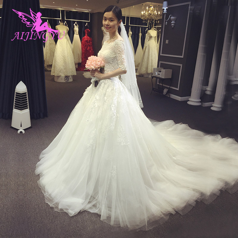 AIJINGYU 2018 elegant free shipping new hot selling cheap ball gown lace up back formal bride dresses wedding dress WK380-in Wedding Dresses from Weddings & Events