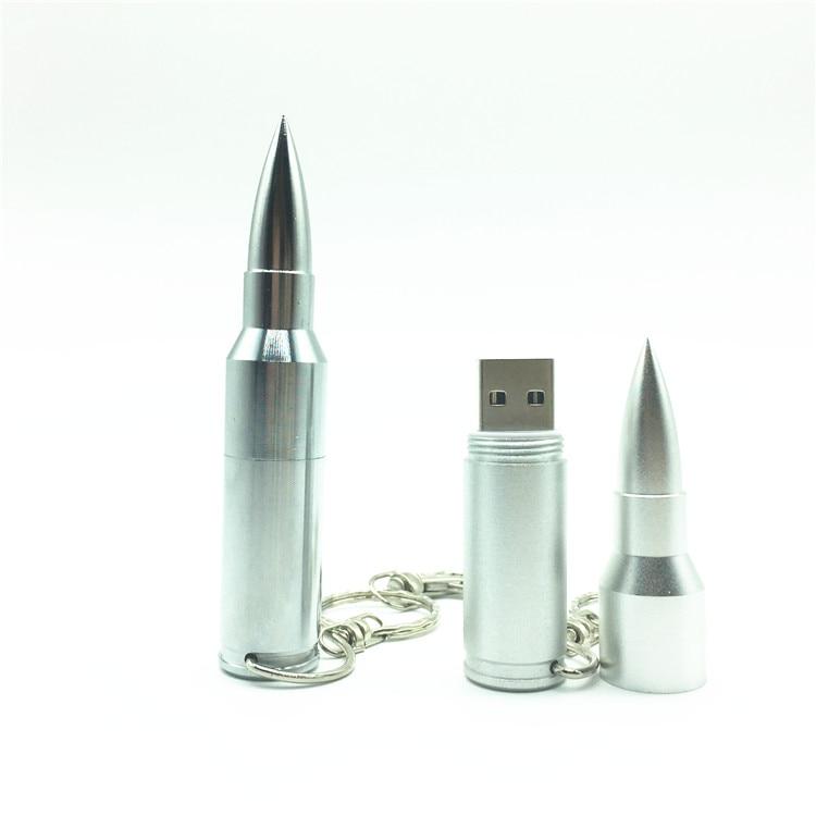 Wholesale Full Capacity Metal Bullet Shape Genuine 4GB 8GB 16GB 32GB 64GB USB Memory Stick Flash Pen Drive Pendive Boys Gift