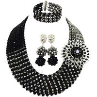 Pretty Black and Silver Beads Necklace Sets Nigerian Wedding African Beads Jewelry Set Crystal 8JBK03