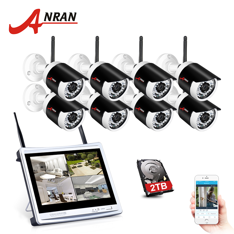 ANRAN 2MP Wireless Home Security Camera 1080P 2.0MP Waterproof NightVision CCTV Camera System With 12 Inch LCD Monitor ScreenANRAN 2MP Wireless Home Security Camera 1080P 2.0MP Waterproof NightVision CCTV Camera System With 12 Inch LCD Monitor Screen