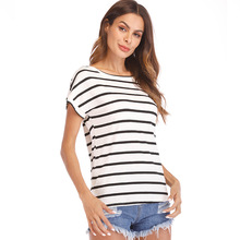 PADEGAO 2019 Fashion Women T-Shirt  Striped Tshirt Plus Size New Tops Short Sleeve Graphic Tees Black Pink Red Female