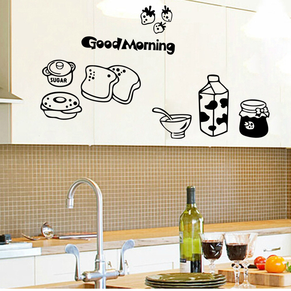 Good Morning Food Wall Sticker Decals Milk Sugar Adhesive Kitchen Room Wallpaper Bedroom Living Room Nursery Window Decor