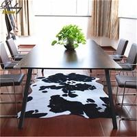 PanlongHome Short Hair Black And White Animal Dermatoglyph Pattern PU Bottom Carpet Living Room Bedroom Coffee Table Fashion Mat