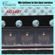 50 pcs frete grátis AO3407 MOSFET MOSFT 3407 SOT23-3 P-Ch-30 V-3.6A 64 mOhm novo original