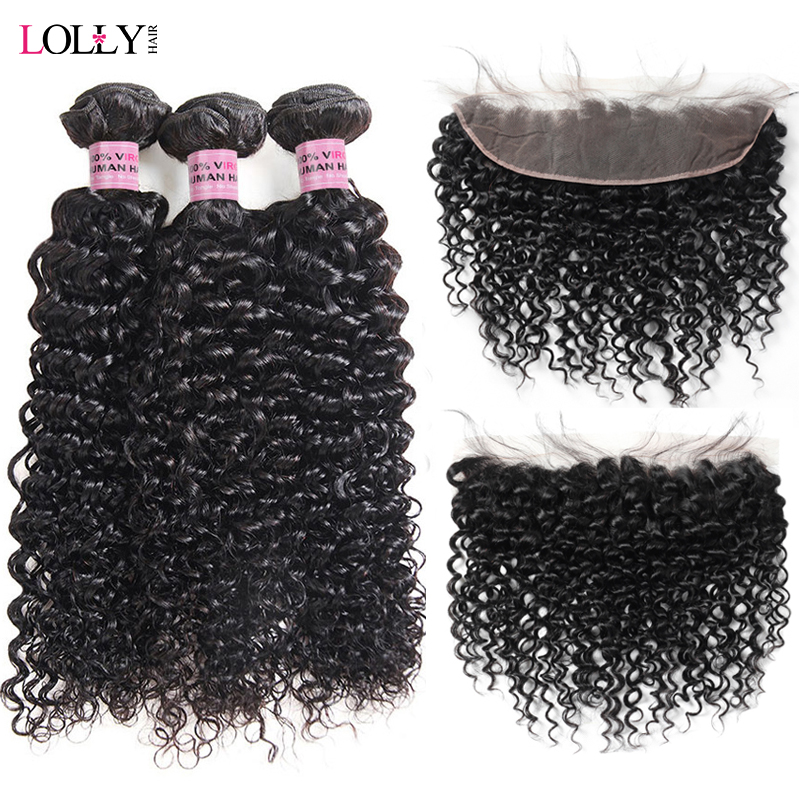 Lolly Malaysian Kinky Curly Hair 3 Bundles With Frontal Human Hair 13X4 Pre Plucked Lace Frontal
