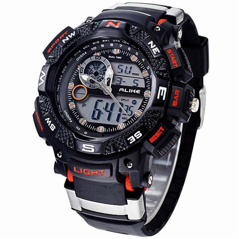 Alike Big Dial Digital Analog Watch Military G Army Men Shock Watch Water Resistant Date Calendar LED Sports Rubber Watches Men alike ak1391 sports 50m water resistant quartz digital wrist watch black orange