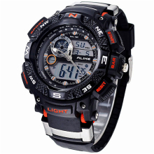 Alike Big Dial Digital Analog Watch Military G Army Men Shock Watch Water Resistant Date Calendar LED Sports Rubber Watches Men