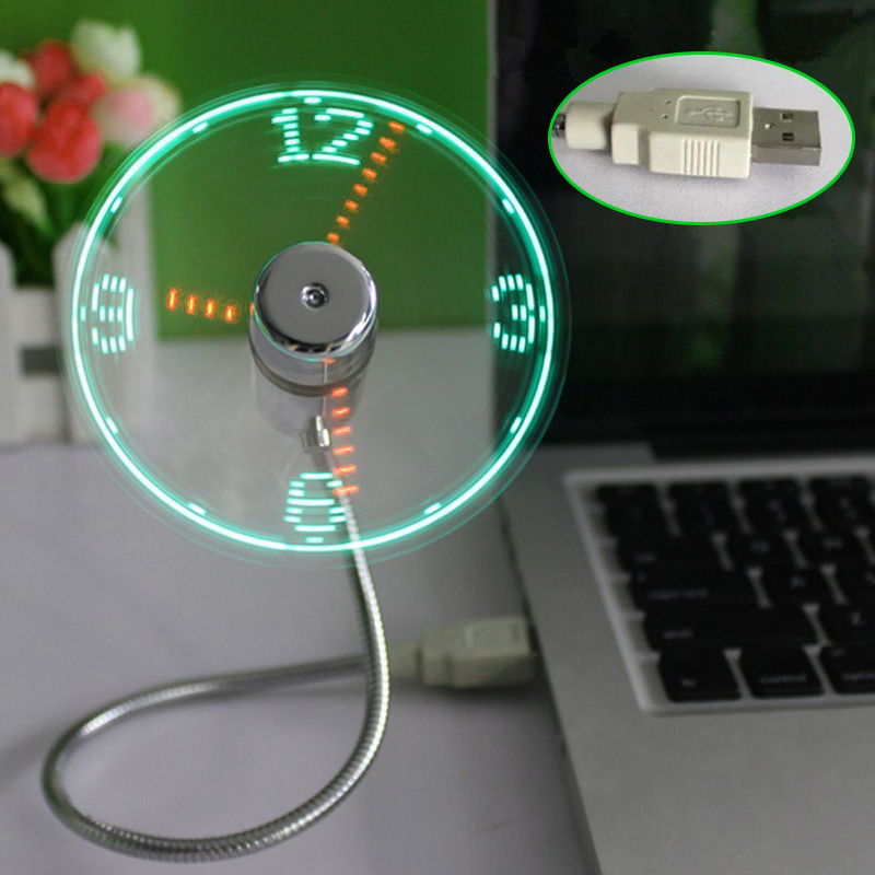 New Party Decoration Green Lighting Clock LED USB Fan Clock Mini Flexible Time with LED Light Party Cool Gadget Supplies DA