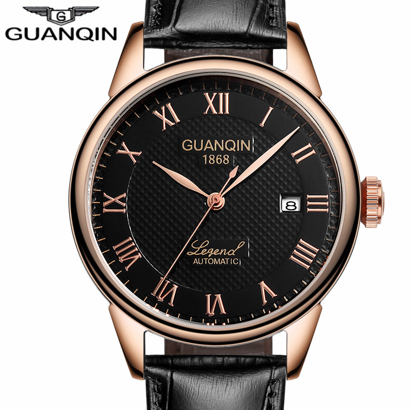 цена GUANQIN Mechanical Automatic business gold Mens Watches Top Brand Luxury Leather Wrist watch clock Relogio Masculino