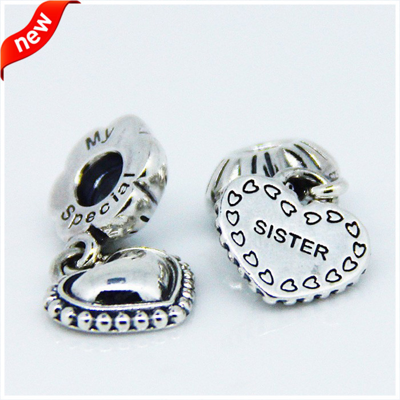 Charm Fit Pandora Bracelet Beads for Jewelry Making My Special Sister Dangle Charm Original 925 Sterling Silver Jewelry FL064