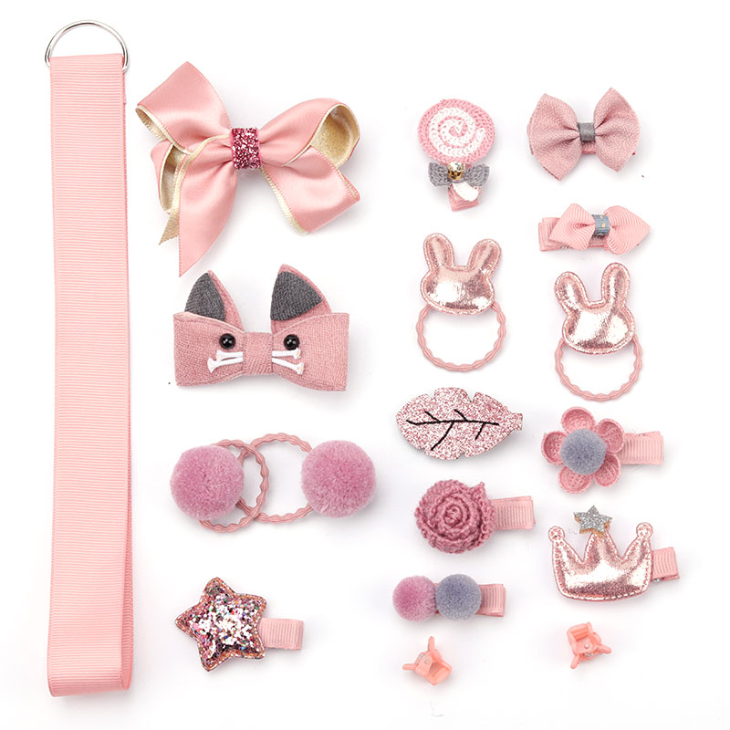 Children's Hair Clips 18 Pieces Set 7 Color Cute Girl Headdress Female Hair Accessories Baby Hair Ring Rubber Ring Rope