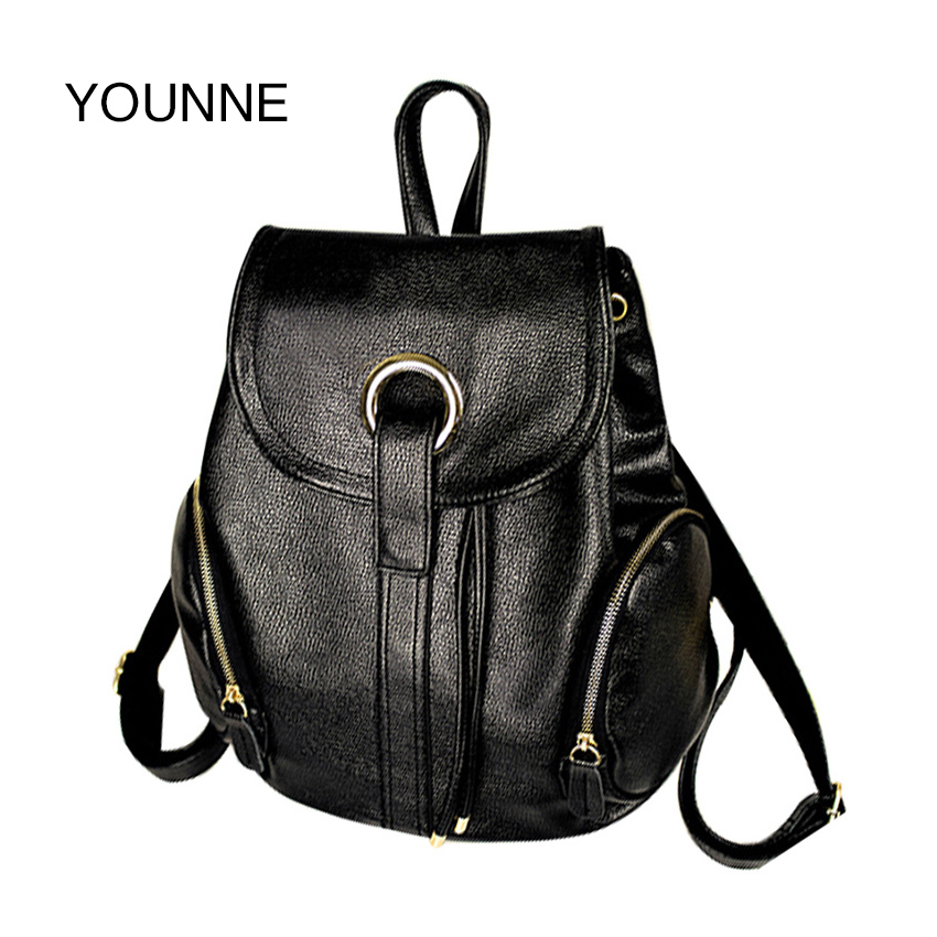 YOUNNE New 2017 Women Backpacks High Quality Small School Bags For Teenage Girls Pu Leather Rivet Multi-use Student Bags Black 2016 fashion women waterproof pu leather rivet backpack women s backpacks for teenage girls ladies bags with zippers black bags