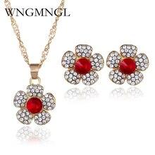 WNGMNGL Luxury Gold-color Rhinestone Crystal Necklace Drop Earrings Set Flower Pendant Jewelry for Women Wedding Jewelry Sets цены онлайн
