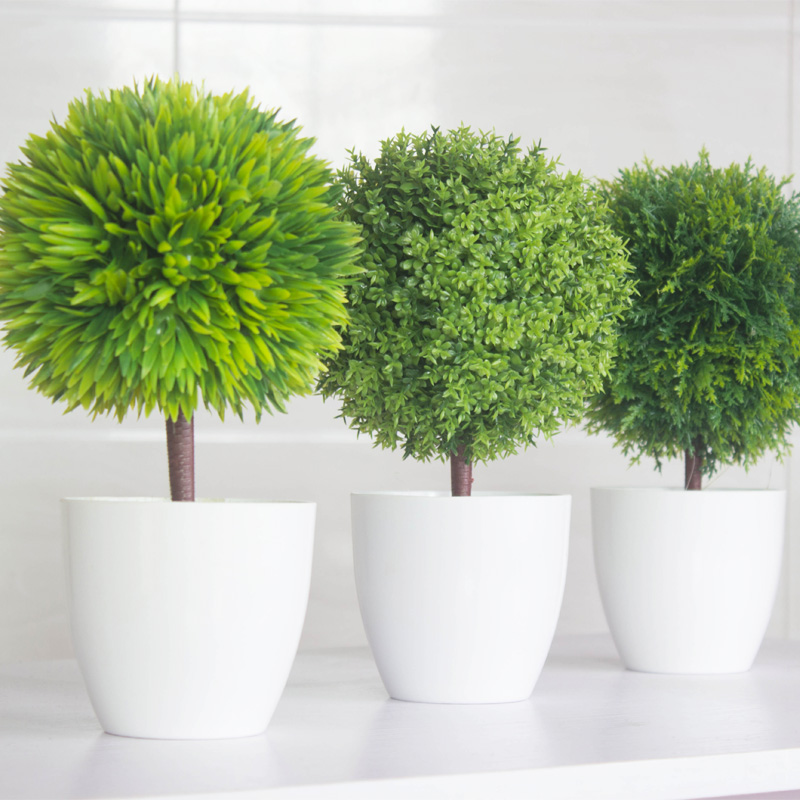 Buy New Green Plants Set Home Interior Decoration Plastic Flower With Vase