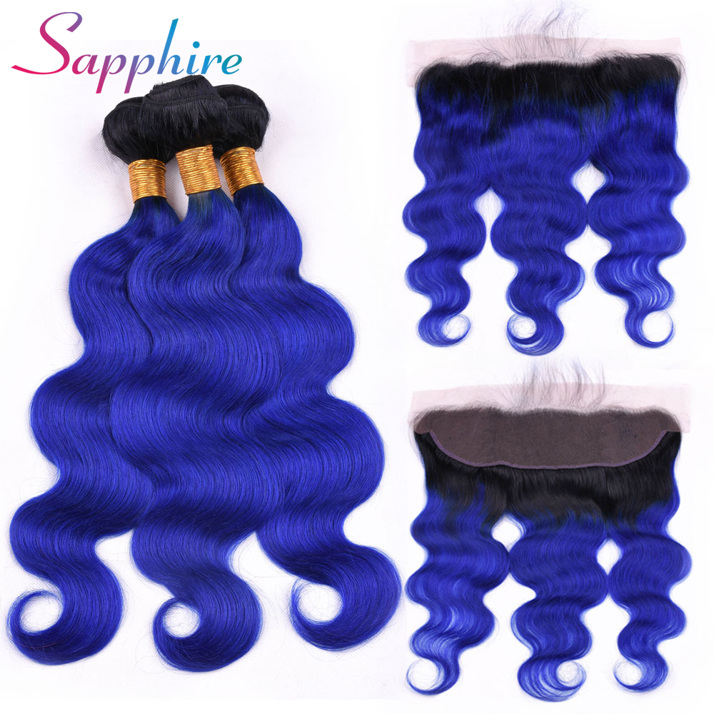 Sapphire Hair 1B/Blue Dark Roots Ombre Blue Brazilian Body Wave Bundles with Frontal Remy Human Hair Bundles with Frontal