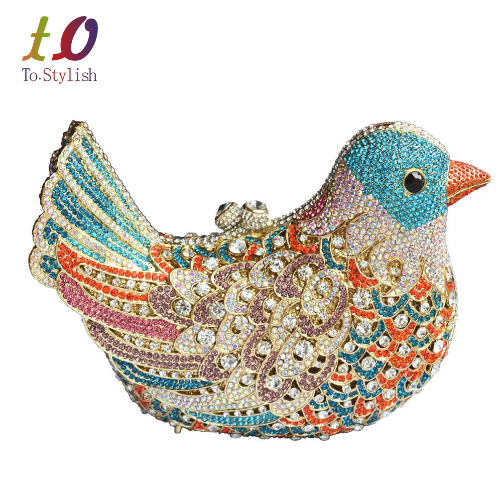 ФОТО 2016 popular luxury evening bags Sparkly Crystal women Clutch bags Colorful Bird pattern Ladies dinner bags Clutches purse SC035