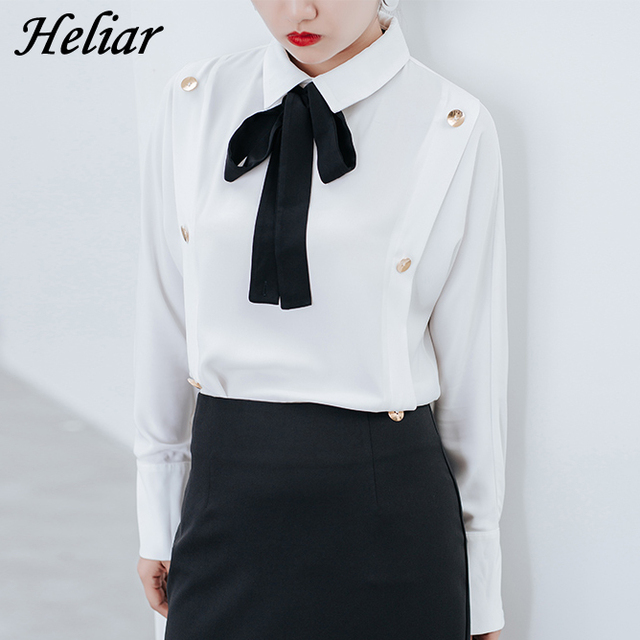 Heliar 2017 Black Bow Tie Decorative Double Breasted Long Sleeve