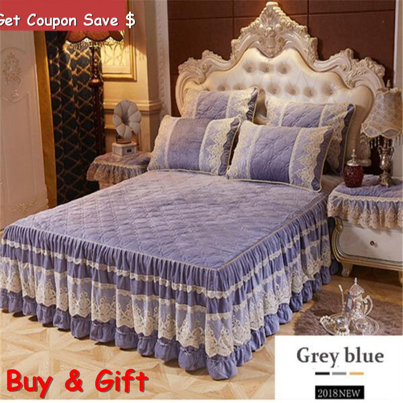 Fast shipping crystal velvet 3pcs thickened lace bedspreadset European style cotton bedskirt and pillowcases quality bedclothes