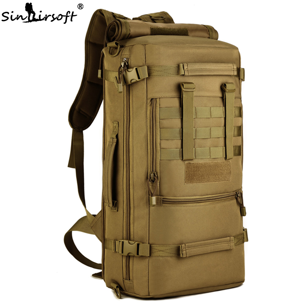 Gift!SINAIRSOFT Military Tactical Backpack Camping Bags 50L Mountaineering bag Men's Hiking Rucksack Travel Backpack LY0089 baigio men backpack military molle assault backpack 3 way modular attachments 50l waterproof bag rucksack male travel bags