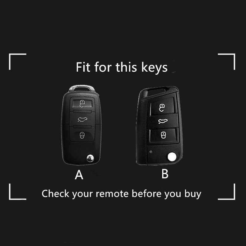 Чехол для автомобильного ключа в полоску из цинкового сплава для Skoda Seat для Volkswagen VW автомобильные чехлы для Golf Passat Polo Jetta Touran Bora Sharan