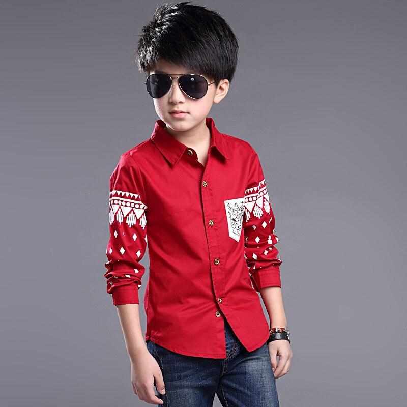 305a7c3bc Top Quality Boys Full Sleeve Turn down Collar Shirts Blue Red Kids ...