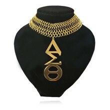 Большие размеры Нержавеющаясталь золотой тон Дельта-Сигма тета DST Цепочки и ожерелья ювелирные изделия