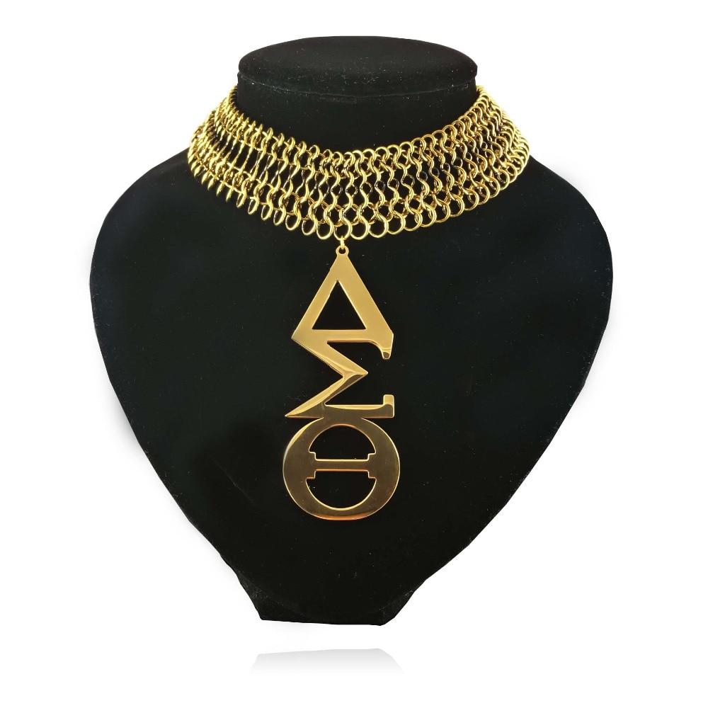 Grande taille en acier inoxydable ton or Delta Sigma Theta DST collier bijoux