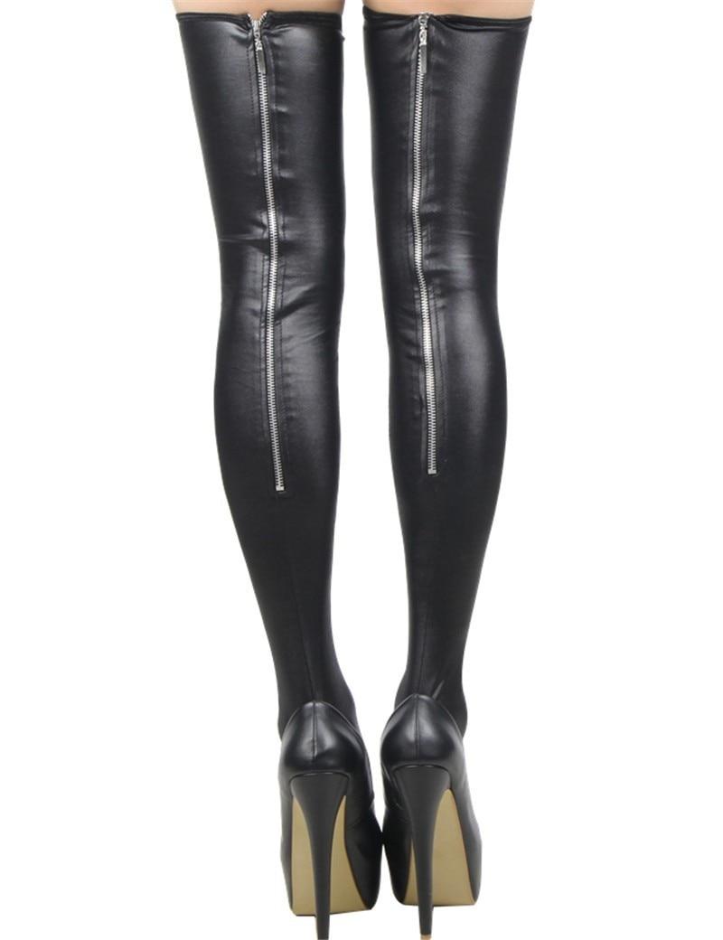 2019 New Sexy Wet Look Metal Zipper Stockings Women Pole Dance Latex Stockings PU Leather Night Clubwear Stockings