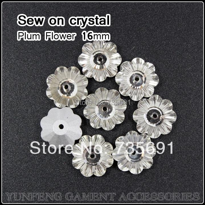 Limitada real strass pedras e cristais strass apliques plum flor pedrinhas  16mm claro 96 pçs lote sew base de prata no d6ec3783da9