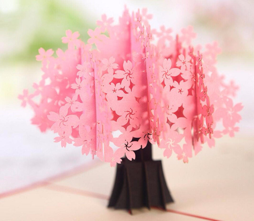 10pcs 3d pink sakura flower handmade kirigami origami wedding party 10pcs 3d pink sakura flower handmade kirigami origami wedding party invitation cards greeding birthday card postcard in cards invitations from home mightylinksfo