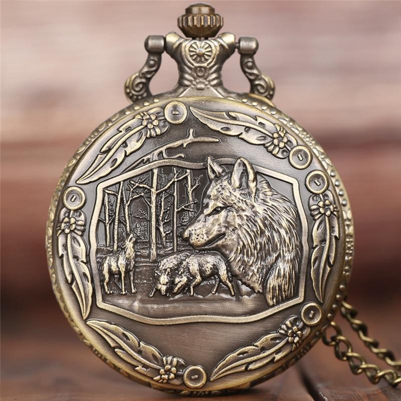 Half Hunter Retro Cool Bronze Wolf Watch Men Quartz Pocket Watches With Chain New Arrival Fashion Pendant Clock Gift Children