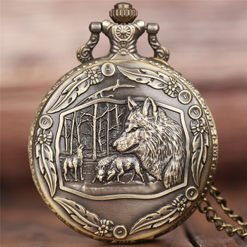 Half Hunter Retro Cool Bronze Wolf Watch Men Quartz Pocket Watches with Chain New Arrival Fashion Pendant Clock Gift Children retro bronze men fashion pocket watch national austria the double eagle chain necklace quartz full hunter emblem clock male
