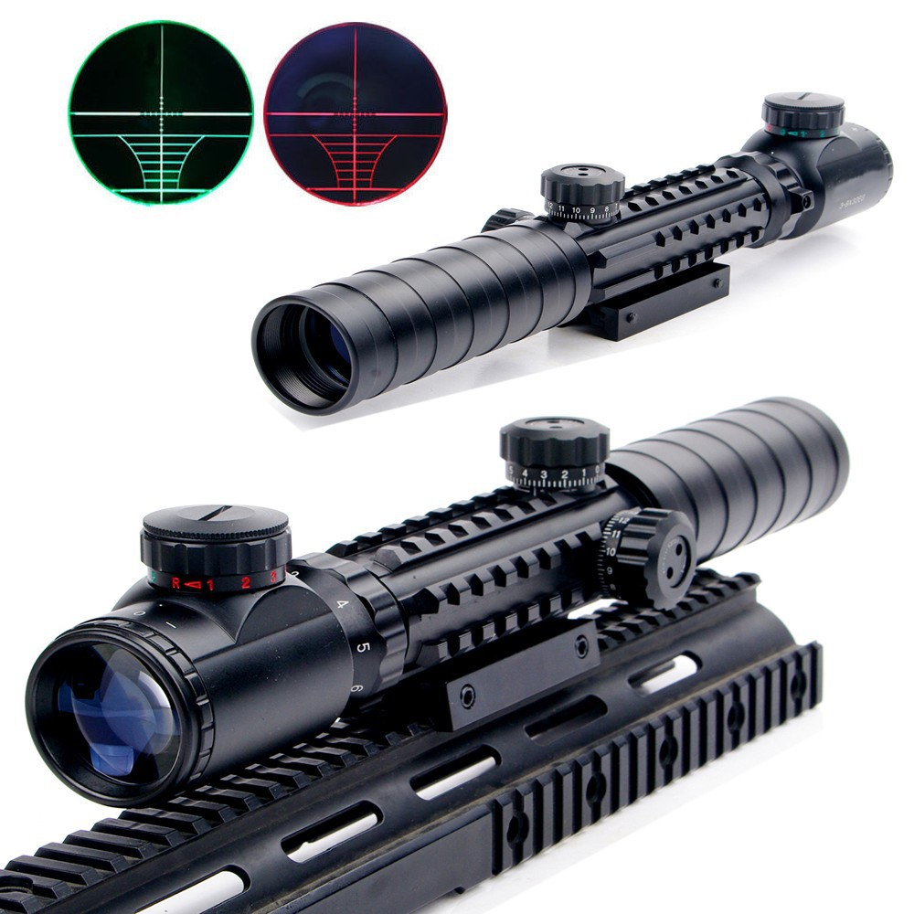 ФОТО New 3-9x32EG Riflescope Red&Green Illuminated Rangefinder Reticle Shotgun Air Hunting Rifle Scope With Lens Cover Drop Shipping
