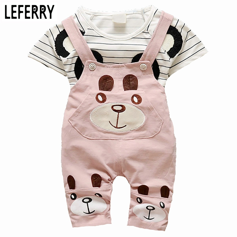 2016 New Summer Cute Girls Clothes Kids Baby Clothing Sets Toddler Girl Clothing Kids Clothes Sets T-shirt + Shorts Overalls  new cotton toddler girls clothing sets kids clothes summer cartoon baby girl t shirt overalls suit costume with suspender shorts