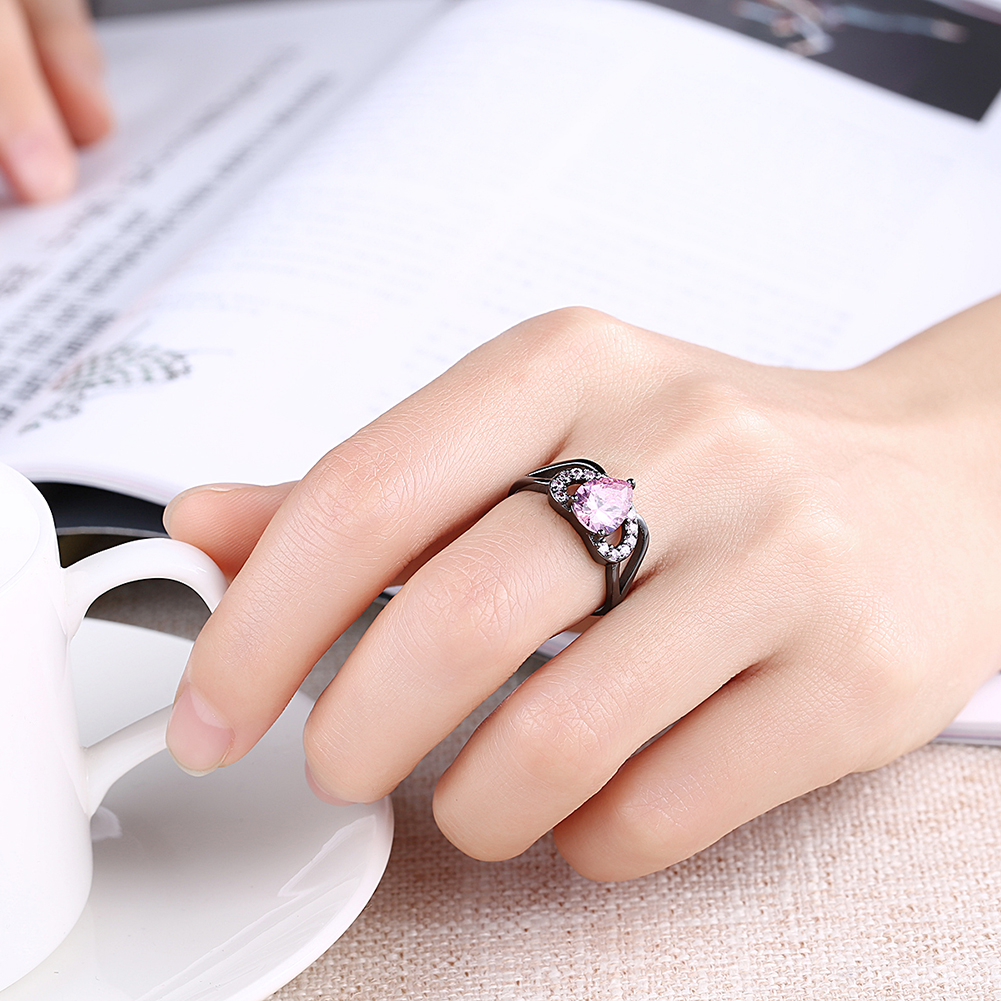 Black Plated Cubic Zirconia Romantic Heart Rings Blue/Black /Pink ...